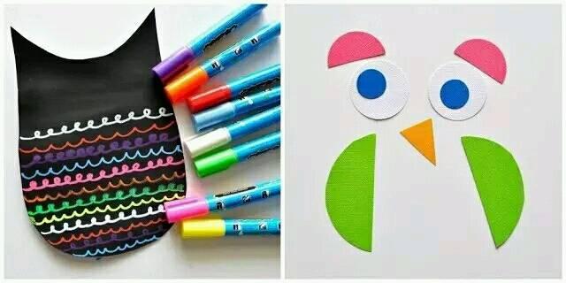 再用水彩笔画一些波浪纹,用彩色卡纸剪出图中形状